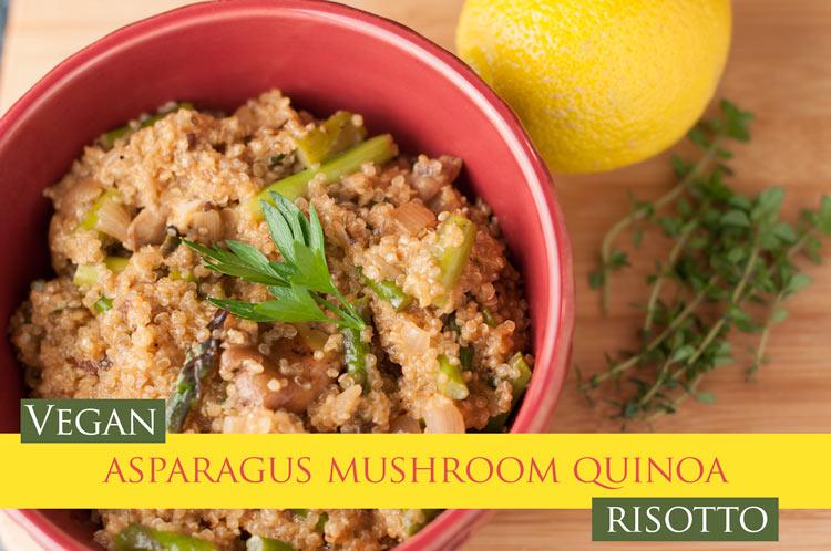 vegan asparagus mushroom quinoa risotto