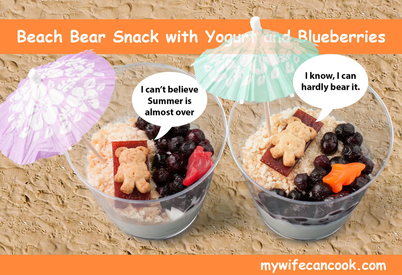 kid friendly snack -- yogurt with blueberries beach bear snack