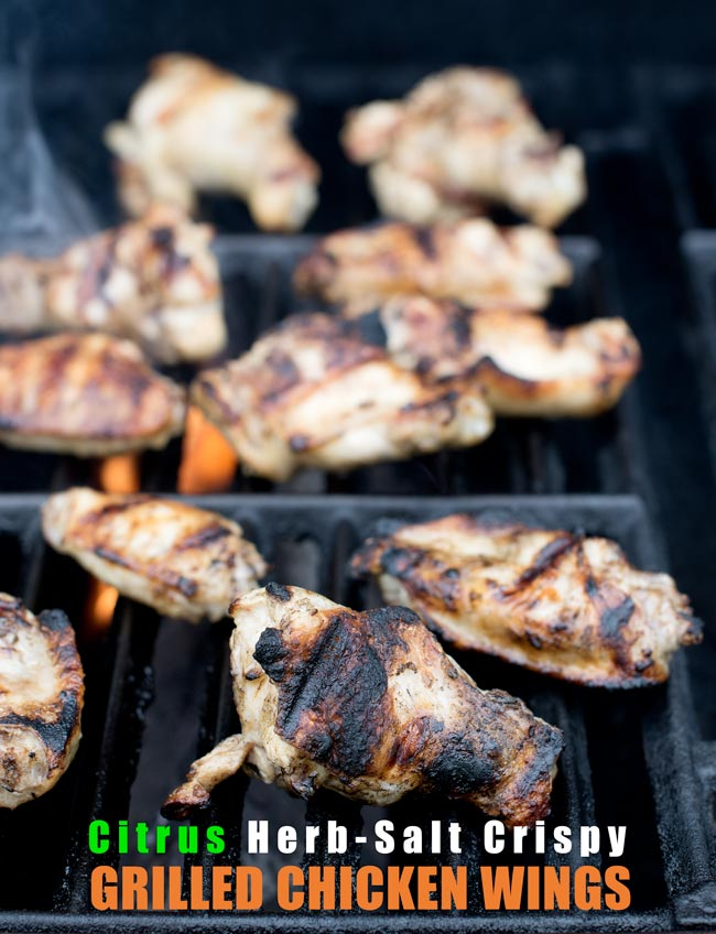 Citrus Herb-Salted Crispy Grilled Chicken Wings