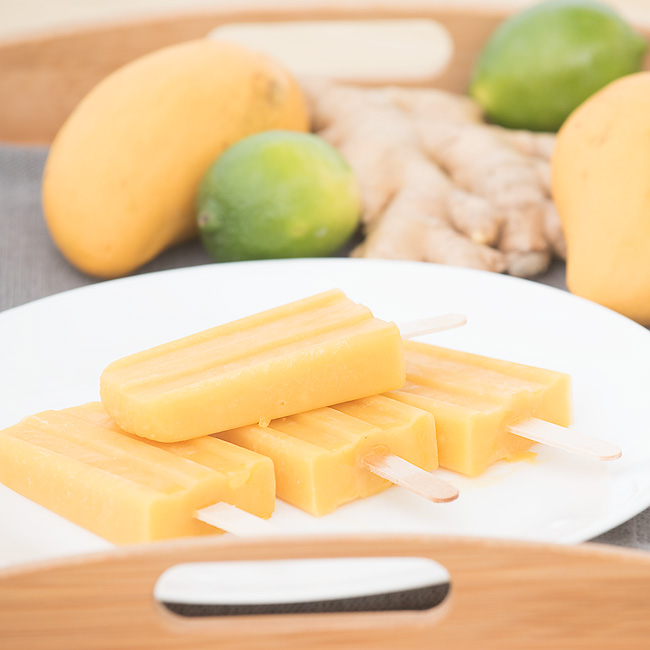 Honey Lime Ginger Mango Popsicles
