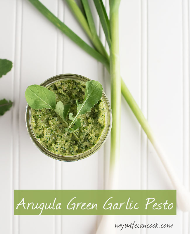 Arugula Green Garlic Pesto - Wondering How to Make Pesto? Wonder no more, learn the easy step with this simple arugula green garlic pesto.
