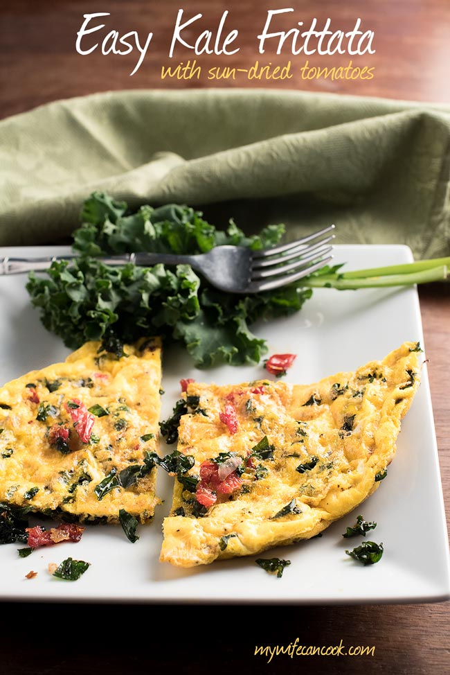 Kale Frittata with sun-dried tomatoes