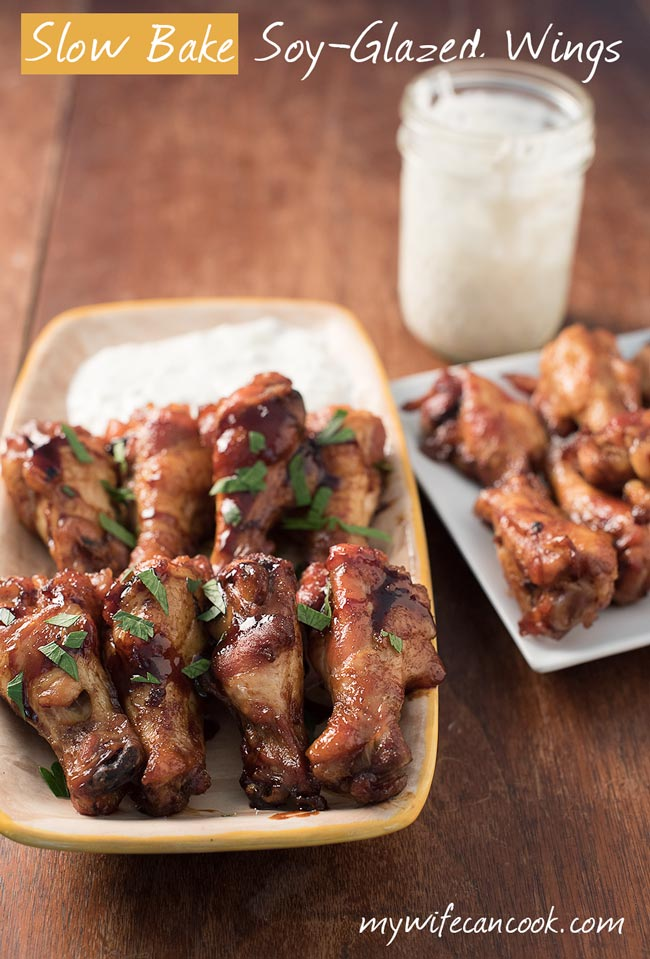 slow baked oven roasted soy glazed chicken wings - great crispy chicken wings in 2 hours!