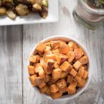 Roasted Sweet Potato Cubes - oven roasted to crispy perfection!