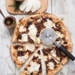 fig jam pizza with caramelized onions and fresh mozzarella