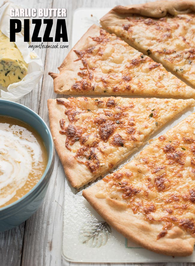 garlic butter pizza with provolone cheese