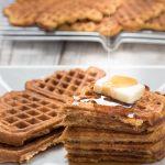 spelt pumpkin waffles - pumpkins waffles using spelt flour as a healthier whole wheat flour substitute