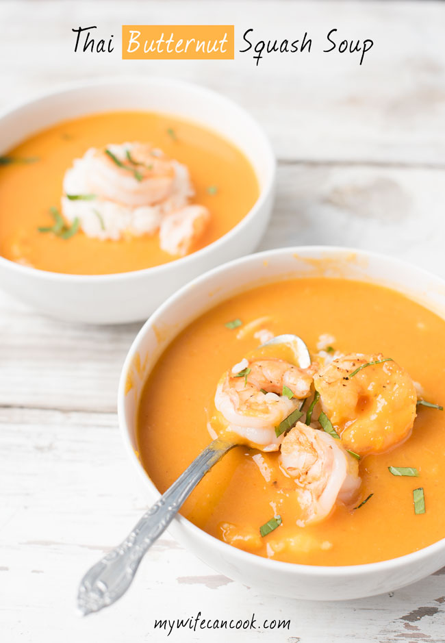 thai butternut squash soup thai soup recipe with coconut milk, butternut squash, and shrimp