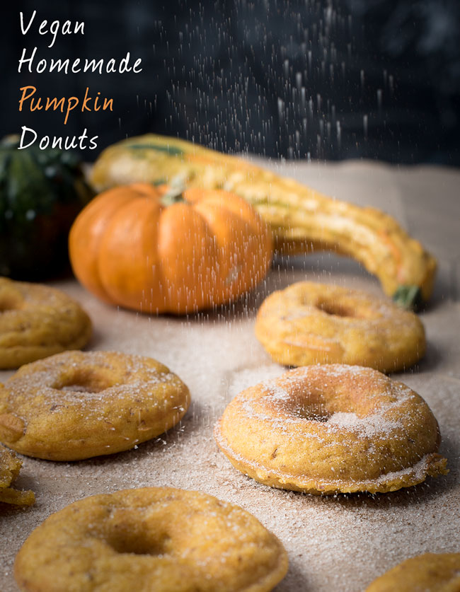 vegan homemade pumpkin donuts