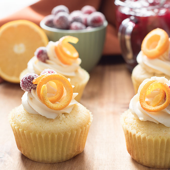 White Chocolate Buttercream Cranberry Orange Cupcakes