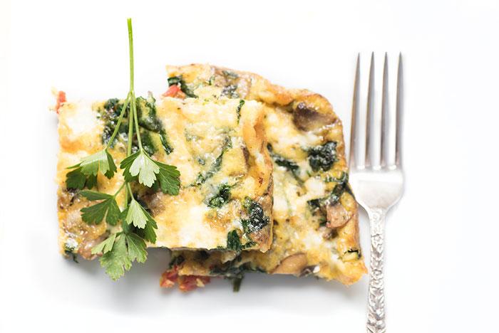 mushroom spinach paleo egg casserole