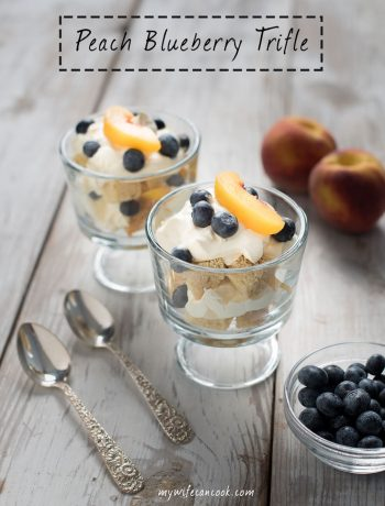 peach blueberry trifle dessert