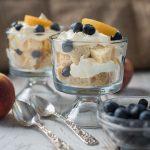 peach blueberry trifle dessert - how to make fruit trifle