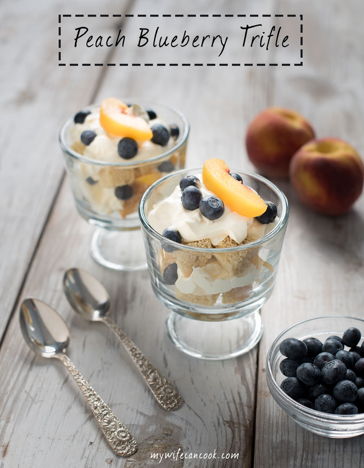 peach blueberry trifle dessert