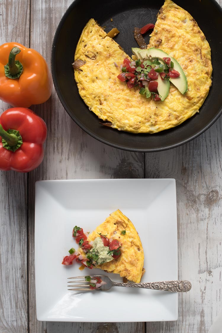 Mexican frittata with peppers and onions