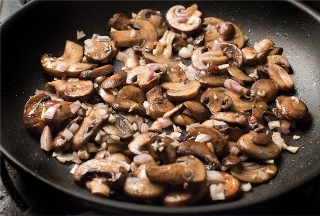 mushrooms and garlic for the green bean casserole