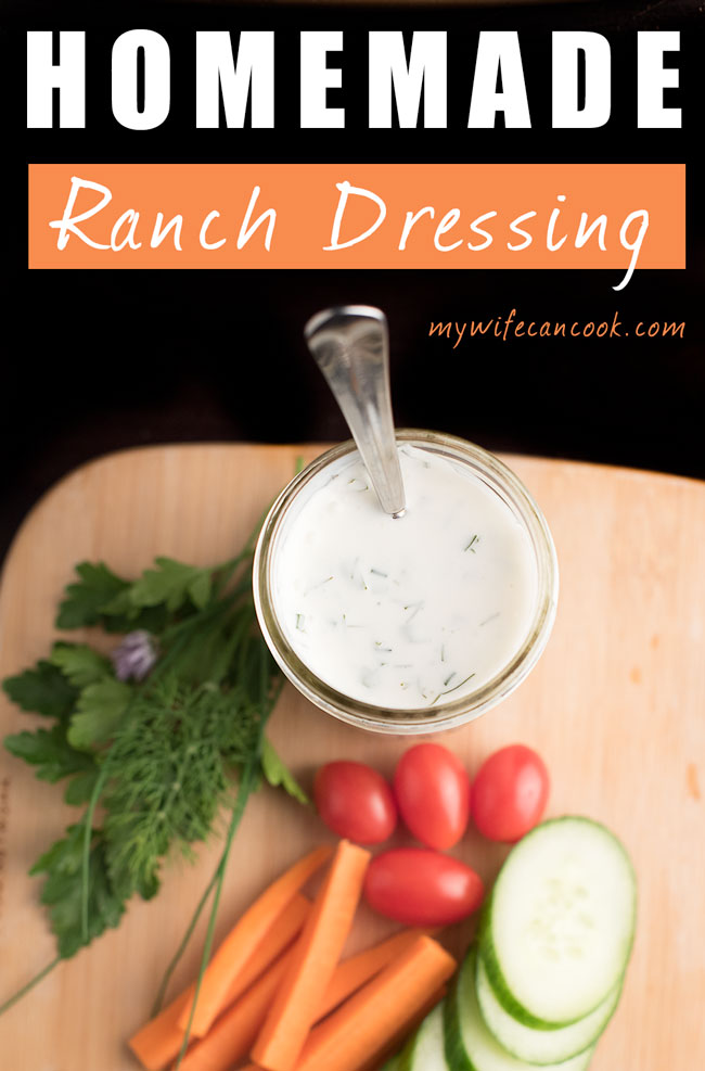 homemade ranch dressing made with fresh from the garden herbs