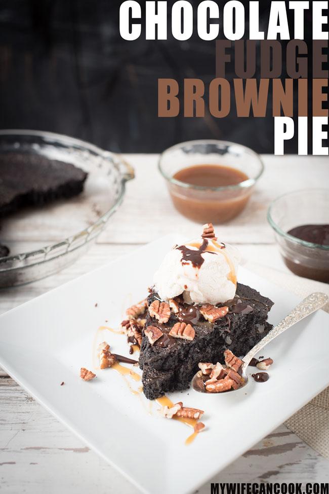 chocolate fudge brownie pie -- a dessert lover's dream, it's like 3 desserts in one!