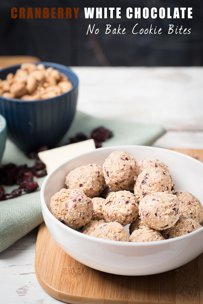 Cranberry White Chocolate No Bake Cookies - A perfect pairing of cranberries and white chocolate in a healthy no bake cookie