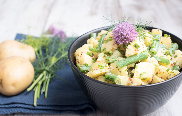 Potato Salad made with Instant Pot Potatoes, green beans, and fresh herbs