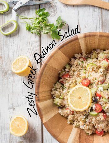 zesty greek quinoa salad with feta and greek flavors