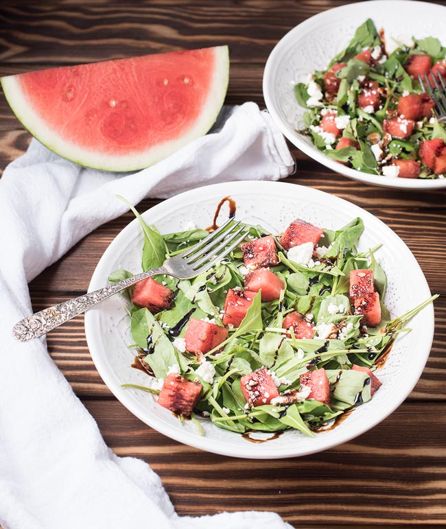 The perfect summer salad - arugula with feta, watermelon, and a balsamic glaze