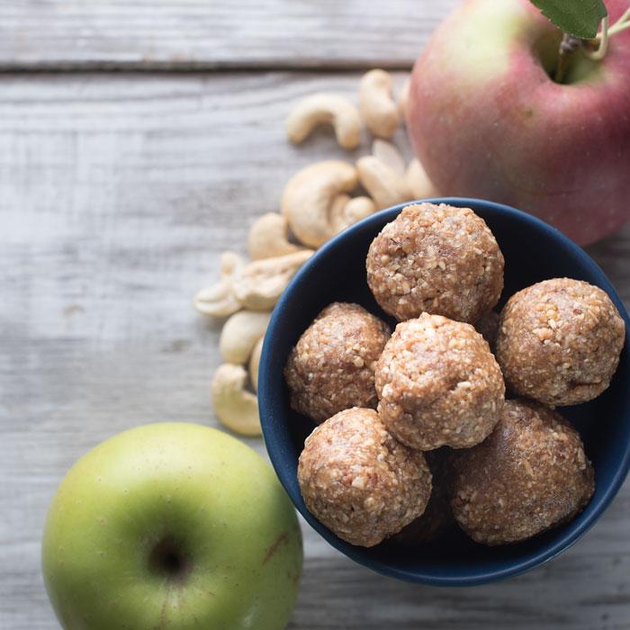 vegan no bake apple pie cookie balls