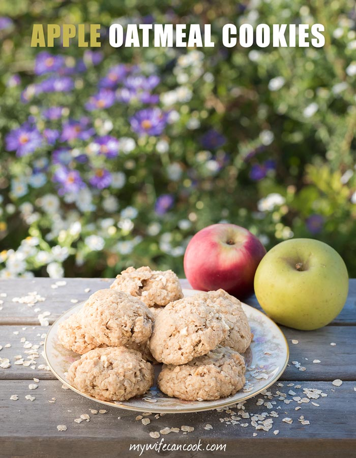 apple oatmeals cookies with cinnamon, fresh apple, boiled cider, and quick oats