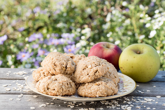 homemade chewy oatmeal cookies made with fresh apples and quick oats