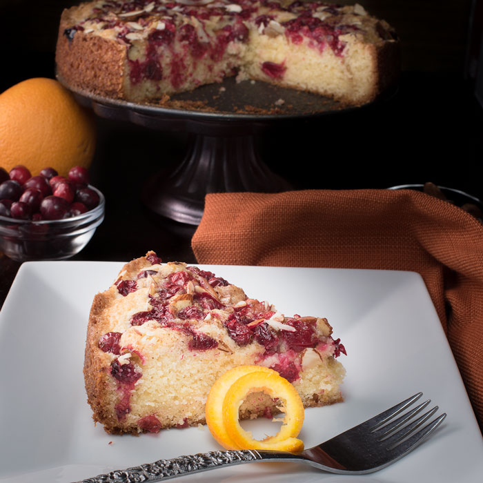 cranberry torte flavored with orange and almond