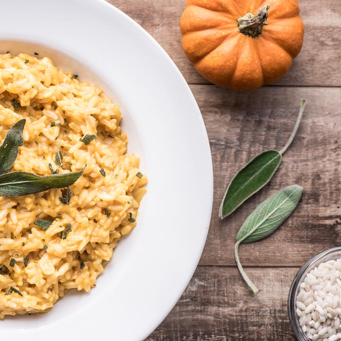 Instant Pot Pumpkin Risotto - made with arborio rice, sage, and pumpkin puree